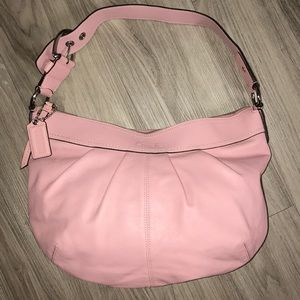 Coach Pink Leather Shoulder/Hobo w/Pleated Detail